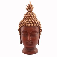Purpledip Buddha Head In Polyresin: For Meditation Or Decor Gift (11027)