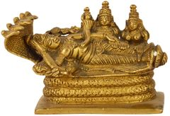 Purpledip Rare Collection Brass Idol Lord Vishnu Trimurti With Shiva & Brahma: Anantashayi,AnandShayan Sleeping Vishnu-Lakshmi Unique Brass Statue (11032)