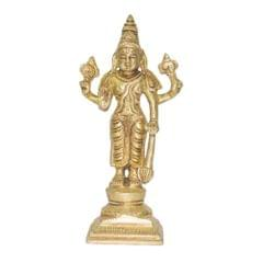 Purpledip Brass Statue Lord Vishnu: Hindu God Idol Sculpture Home Temple Decor Gift (11033)
