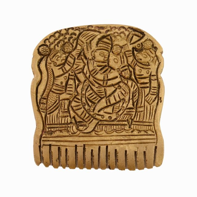 Purpledip Rare Collection Brass Sculpture Lord Krishna On Small Comb; Intricate Carving Indian Antique Collectible Home Temple Decor Gift (11036)