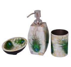 Purpledip Mother Of Pearl Bathroom Set In Peacock Design: Premium Collection Liquid Dispenser, Soap Dish & Toothbrush Stand Set (10710a)