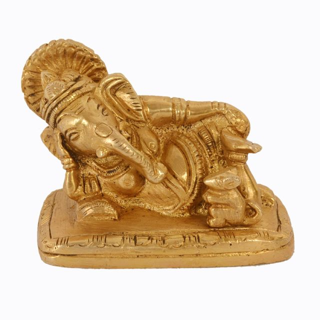 Purpledip Brass Ganesha Small Statue in Reclining/Sleeping Posture, Unique Avatar Of Hindu Elephant God, Indian Decor Religious Gift (11041)