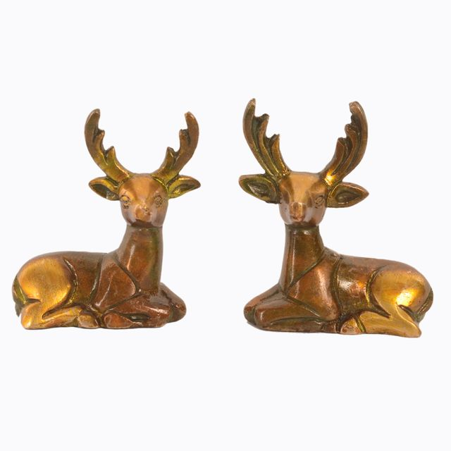 Purpledip Brass Pair of Deer Statues Showpieces for office/study Table, Fengshui Significance (11047)