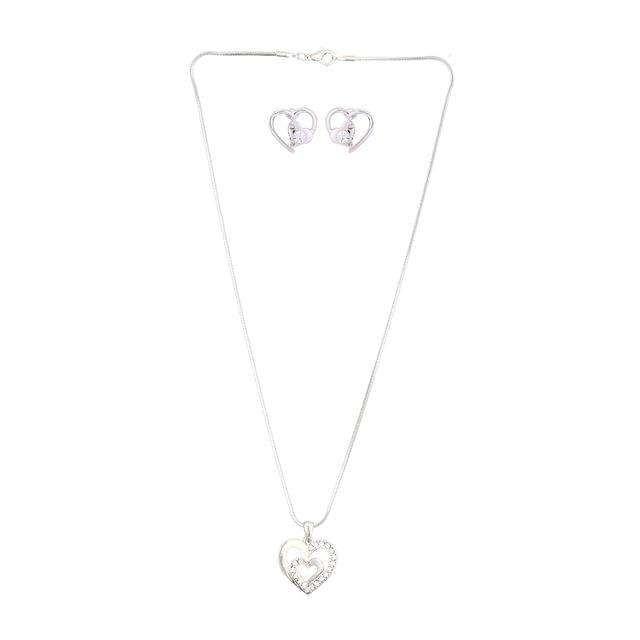 "Purpledip Girls Fashion Jewellery Set ""Double Hearts"": Heart Locket Pendant and Earrings With Heart and glittering stones (30111)"