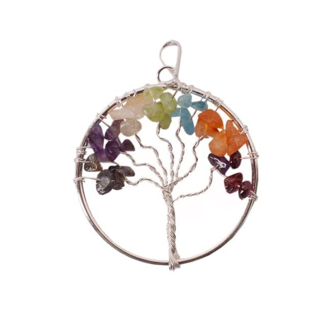 Purpledip Tree Of Life Seven Chakra Gemstone Pendant: Unique Gift Gor Girls With Healing Stones (11049)