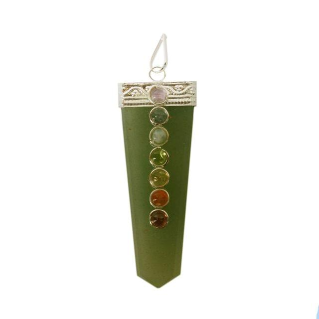 Purpledip Green Aventurine 7 Chakra Gemstone Pendant For Necklace: Reiki Energized Gift Of Natural Crystals, Good Luck Healing Charm (11052)