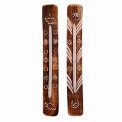 Purpledip Wooden Incense Stick Holder Agarbatti Stand (Set Of 2): Ash Catcher, Hand Carved With Nature's Elements (11055)