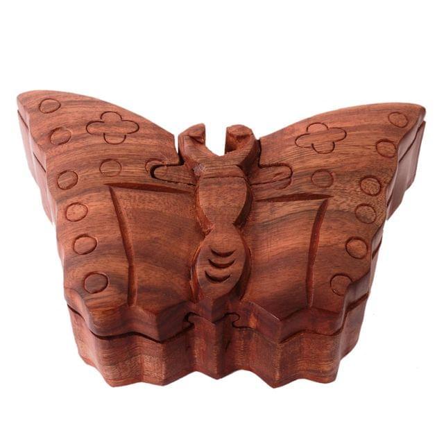 Purpledip Magic Wooden Puzzle Box 'Butterfly': Handmade Mystery Keepsake Box Game Gift (11060)