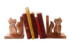 Purpledip Wooden Bookends Stand Holder Bookshelf Organizer 'Foxy Cats': Unique Decor Gift For Book Lovers (11066)