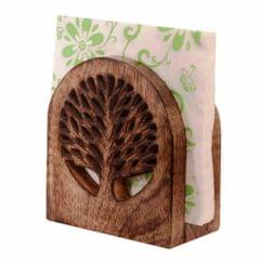 Purpledip Wooden Tissues Holder Napkin Organiser 'Tree Of Life' (11068)