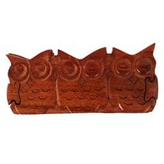Purpledip Magic Wooden Puzzle Box '3 Wise Owls': Handmade Mystery Keepsake Box Game Gift (11059)