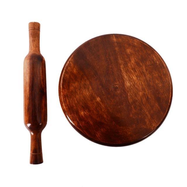 Purpledip Wooden Chakla Belan Roti Maker Rolling Pin Board Set (9 Inch Diameter); Kitchen Utensil (11069)