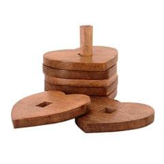 Purpledip Wooden Coasters 'Stacked Hearts': Unique Dining Accessory, Housewarming Gift (11071)