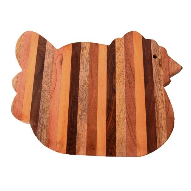 Purpledip Chicken Shape Wooden Cutting, Carving, Chopping Serving Board , Hand Carved Chef Board For Slicing Meat Veggies Bread Crackers Fruits Spices; Durable Kitchen Essential Serveware Accessory (11075)