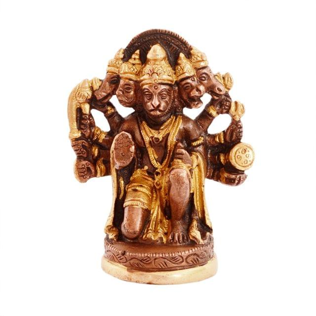 Purpledip Hindu Religious Lord Hanuman/Bajrangbali Statue in Panch-mukhi Avatar: Sculpted in Solid Brass in unique copper gold finish for Home Temple, Office Table or Shop Puja Shelf | Hindu Religious Gift (11077)