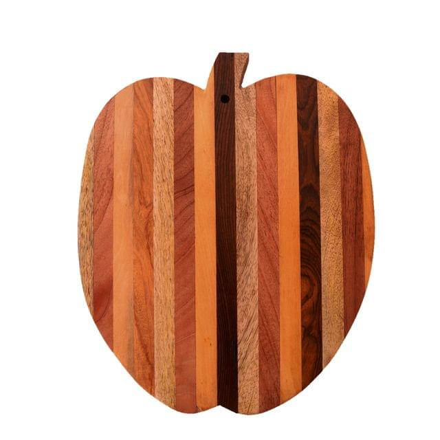 Purpledip Apple Shape Wooden Cutting, Carving, Chopping Serving Board , Hand Carved Chef Board For Slicing Meat Veggies Bread Crackers Fruits Spices; Durable Kitchen Essential Serveware Accessory (11074)