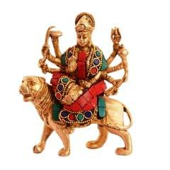 Purpledip Hindu Religious Goddess Durga Sherawali Ma Statue: Sculpted in Solid Brass Metal with spectacular gemstonework: Hindu Religious Gift (11076)