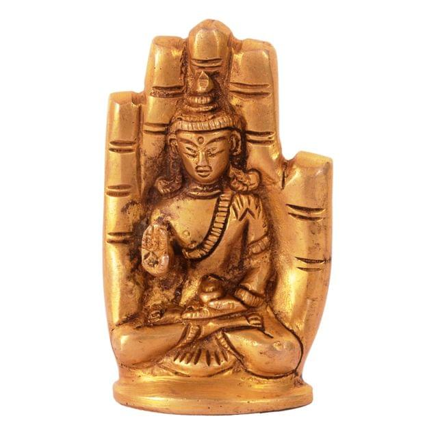 Purpledip Palm Buddha Statue In Solid Brass Metal: Decor Gift For Home Temple, Office Table, Unqiue Posture (11078)