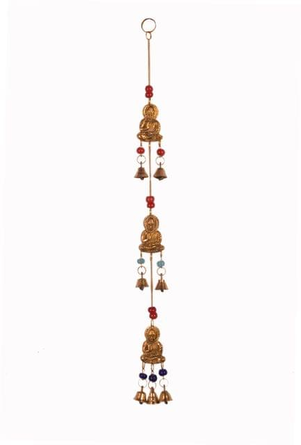 Purpledip Wind Chime With Buddha Statues & Bells: Unique Wall Decor For Good Luck & Positive Energy (11081)