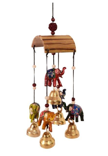 Purpledip Wind Chime With Hanging Elephant Statues & Bells: Soothing sounds For Good Luck & Positive Energy (11085)