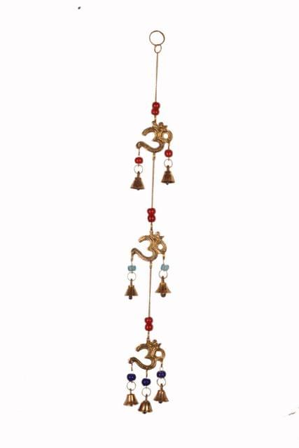 Purpledip Wind Chime With Om & Bells: Unique Wall Decor For Good Luck & Positive Energy (11080)