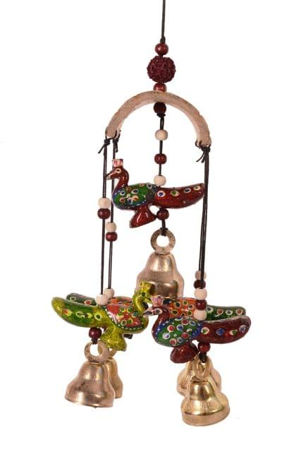 Purpledip Wind Chime With Hanging Peacock Statues & Bells: Soothing sounds For Good Luck & Positive Energy (11086)