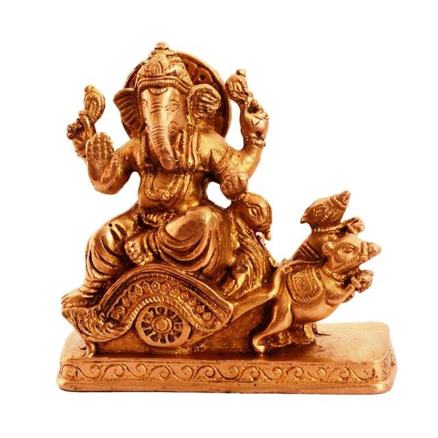 Purpledip Rare Collection Brass Statue Ganapathi Ganesha On Chariot Drawn By Mouse (11088)