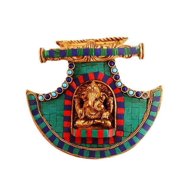 Purpledip Brass Wall Hanging Ganesha (Ganapathi/Vinayaka) Relief: Antique Fan Design Brass Statue With Gemstones (11090)