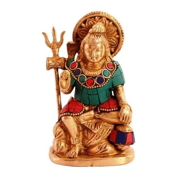 Purpledip Brass Statue Lord Shiva Mahadev With Trishool: Idol With Gemstones For Home Temple, Office Table Or Shop Puja Shelf | Hindu Religious Gift (11091)