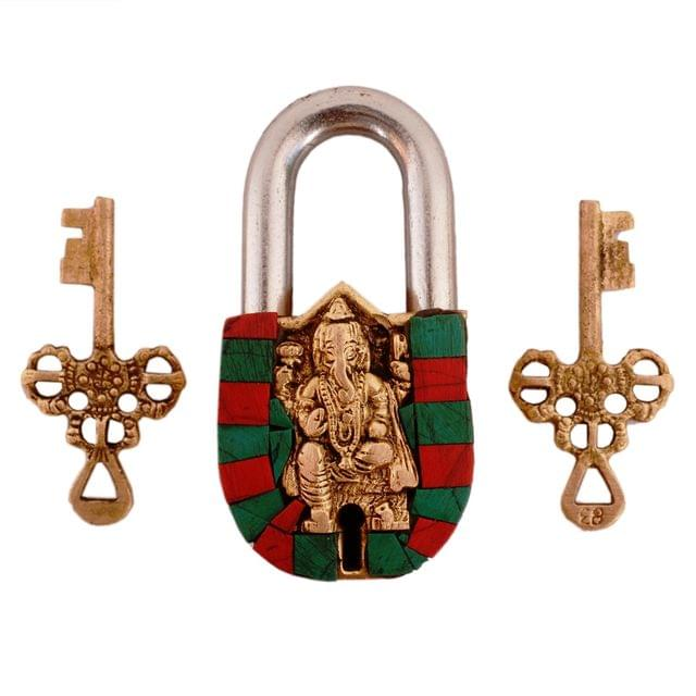 Purpledip Brass Lock Padlock Ganesha: Antique Design With Colorful Gemstones; Unique Collectible Combination Of Beauty & Security With Religious Significance (11094)