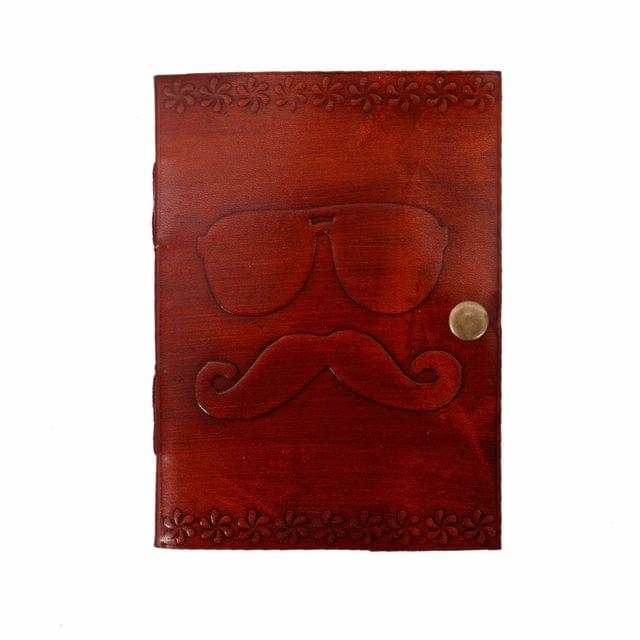 Purpledip Leather Journal (Diary Notebook) 'Shades & Moustache': Naturally Treated Paper In Leather Cover For Corporate Gift or Personal Memoir (11104)