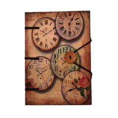 Purpledip Vintage Journal (Diary Notebook) 'The Clock is Ticking': Naturally Treated Paper Encased In Digital Print Hard Cover With Unique Button & String Closure For Personal Memoir or unique Gift (11108)