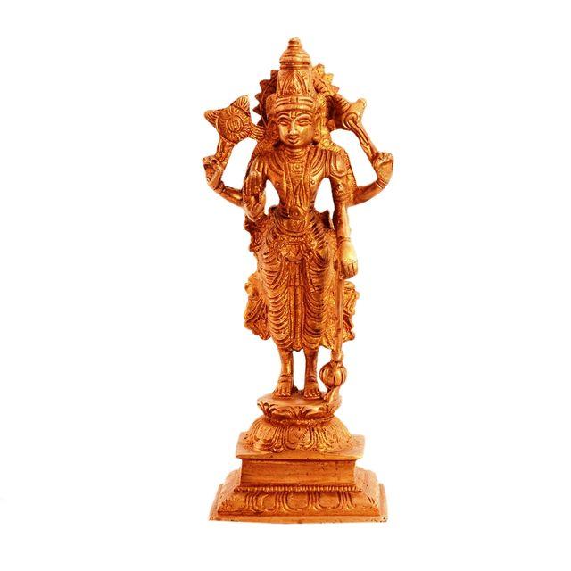 Purpledip Brass Statue Lord Vishnu Narayana: Hindu God Idol Sculpture Home Temple Decor Gift (11099)