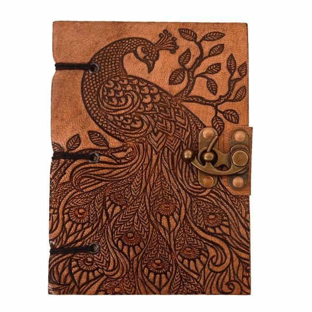 Purpledip Leather Diary (Journal Notebook) 'Jungle Beauty': Naturally Treated Paper Encased In Embossed Peacock Cover For Corporate Gift Or Personal Memoir (11101)