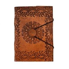 Purpledip Leather Journal (Diary Notebook) 'Center Of The Universe': Naturally Treated Paper In Leather Cover For Corporate Gift or Personal Memoir (11105)