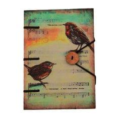 Purpledip Vintage Diary / Journal / Notebook 'Song Birds': Naturally Treated Paper Encased In Digital Print Hard Cover With Unique Button & String Closure. Perfect Gift for Music Lovers (11109)