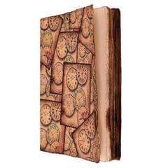 Purpledip Handmade Journal (Vintage Diary) 'Timeless Treasures': Fire Burnt Handmade Paper Notebook; Unique Gift For Personal Memoir (11115)