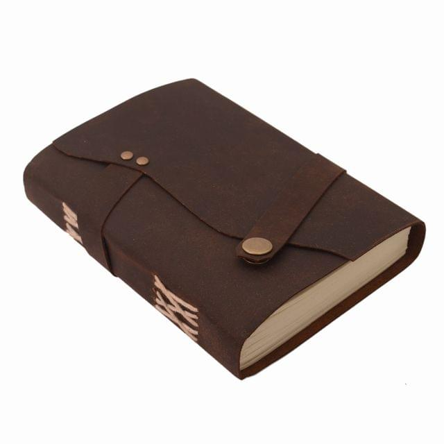 Purpledip Leather Journal (Diary Notebook) 'Modern Tradition': Naturally Treated Paper In Oil Pull-up Leather Cover Button Strap For Corporate Gift Or Personal Memoir (11112)