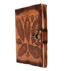 Purpledip Leather Journal (Diary Notebook) 'Peacock Feathers': Handmade Fire Burnt Paper In Deckle Edge Leather Cover With Unique Brass Lock For Corporate Gift Or Personal Memoir (11121)