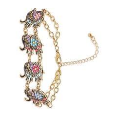 Purpledip Vintage Bracelet 'Trumpeting Elephants': Adjustable Design Set In Beads & Metal; Party-wear Jewelry For Girls (30116)