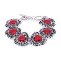 Purpledip Vintage Bracelet 'Cherry Red Hearts': Adjustable Design Set In Oxidised Metal; Party-wear Jewelry For Girls (30115)