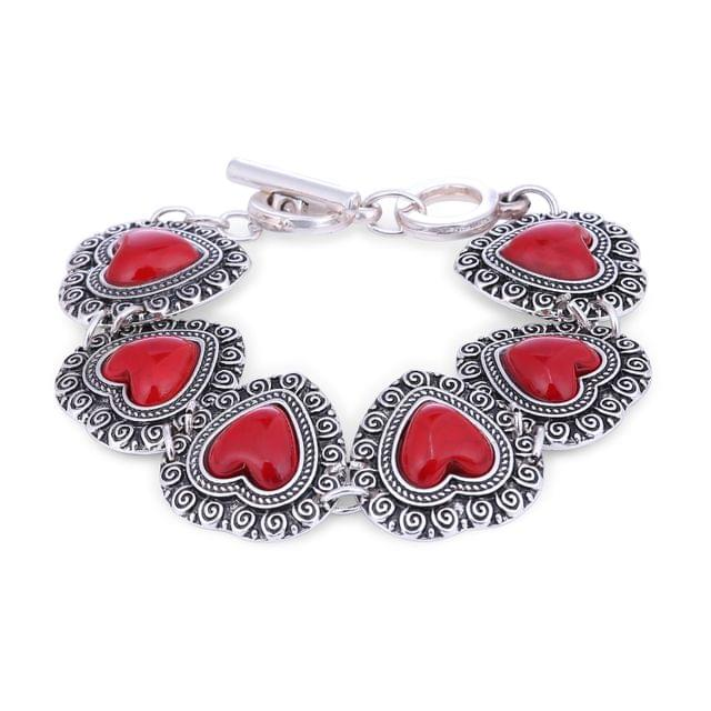 Purpledip Vintage Bracelet 'Cherry Red Hearts': Adjustable Design Set In Oxidised Metal; Party-wear Jewelry For Girls (30115)