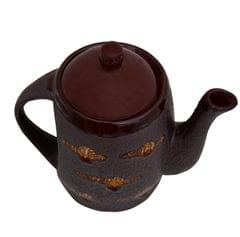 Purpledip Ceramic Kettle In Rustic Studio Blue Pottery: Artisan Handmade Glazed Tea/Coffee Pot; Memorable Gift (10755)