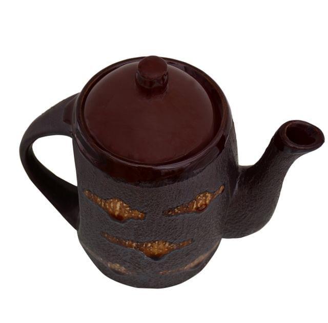 Purpledip Ceramic Kettle In Rustic Studio Blue Pottery: Artisan Handmade Glazed Tea/Coffee Pot; Memorable Gift (10755)