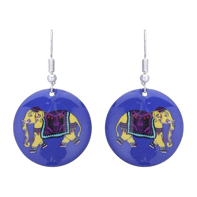 Purpledip Earrings 'Mighty Elephant: Light Weight Funky Ear Rings Designed By Master Craftsmen (30122)