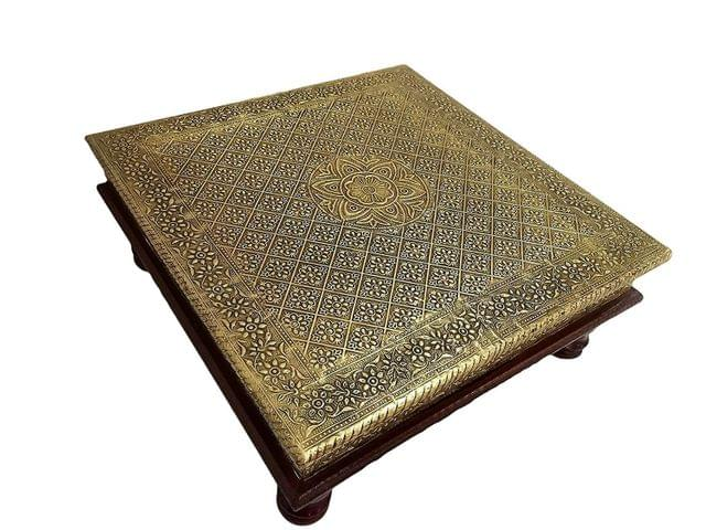 Purpledip Wooden Chowki Low Table Stool With Brass Sheet Cover (26 cm * 26 cm); Vintage Antique Design Furniture; Housewarming Gift (10758)