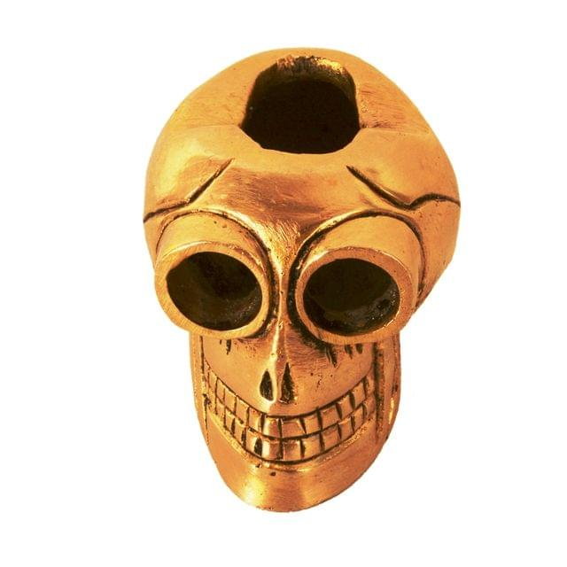 Purpledip Brass Ashtray 'Devil's Advocate': Funky Vintage Skull Shaped Ash Tray For Cigarette Smokers (11140)
