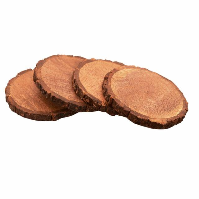 Purpledip Wooden Coasters (Set Of 4) In Natural Mango Tree Bark: Rustic Dining Table Barware Gift; 5 Inches Each (11141)
