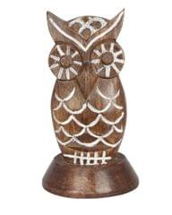 Purpledip Wooden Spectacles Stand Glasses Holder 'Night Vision': Feng Shui Significance Owl Statue (11143)