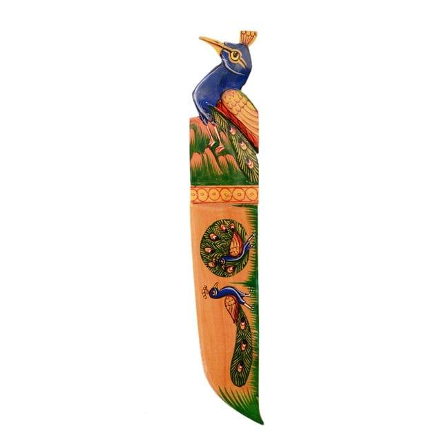 Purpledip Artistic Wooden Letter Opener Paper Cutter 'Peacock Glory' (11155)